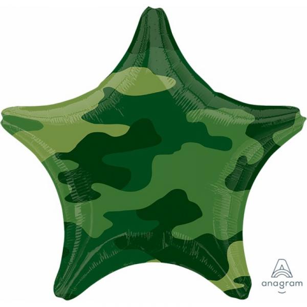 45cm Standard Foil Balloon Star Camouflage