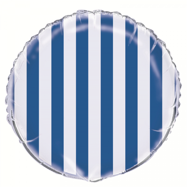 Stripes Royal Blue Foil Balloon