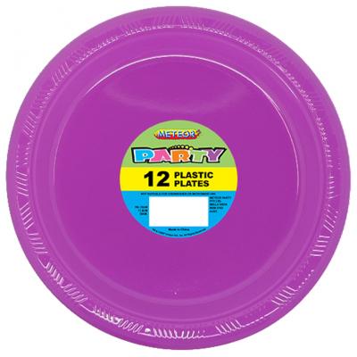 Plastic Around Plates 18cm Purple 12PK