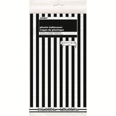 Stripes Black Plastic Tablecover