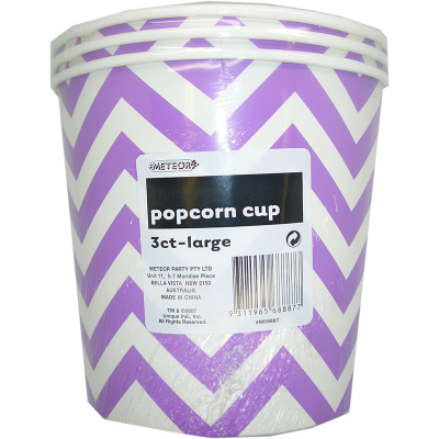 Chevron Popcorn Cup Large Purple 3PK