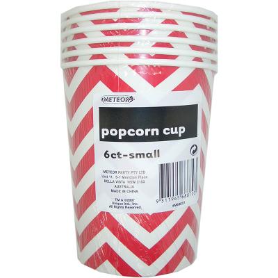 Chevron Popcorn Cups Small Red 6PK