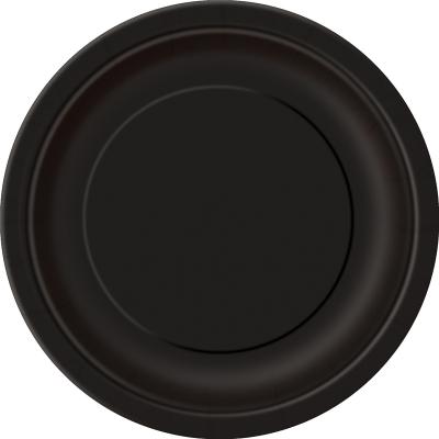 Paper Around Plates 18cm - Black 8PK