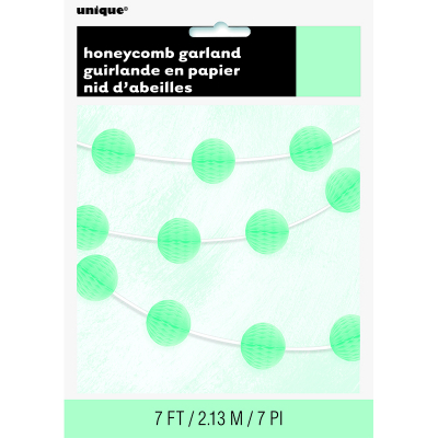 Hanging Honeycomb Balls Garland 7Ft Mint