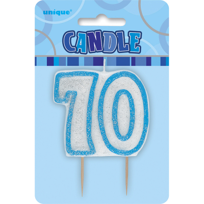Glitz Birthday Blue Numeral Candle 70th