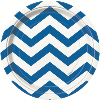 Chevron 17cm Plates Royal Blue 8PK