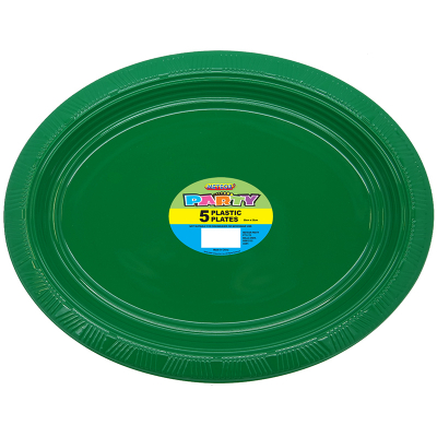 Oval Plastic Plates Dark Green 5PK