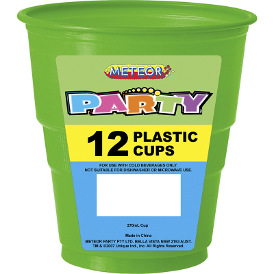 Plastic Cups 270ml Lime Green 12PK