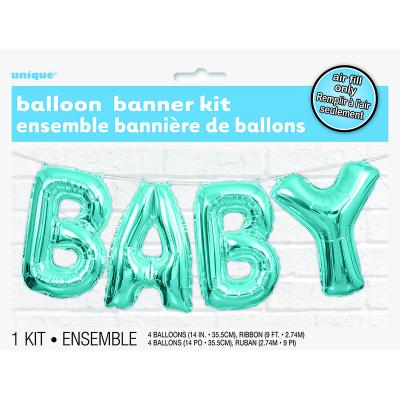 """Blue Baby 14"""" Letter Foil Balloon Kit 4PK"""