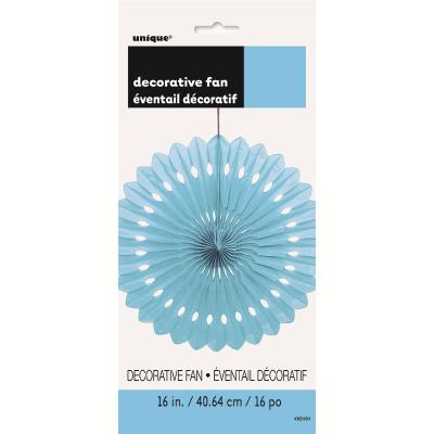 Hanging Decorative Fan 40cm Pastel Blue