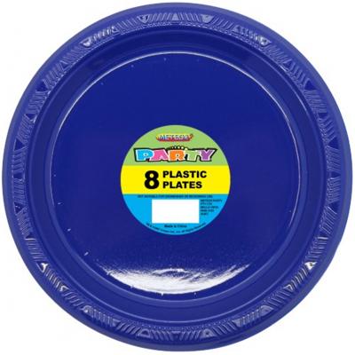 Plastic Around Plates 23cm Navy Blue 8PK