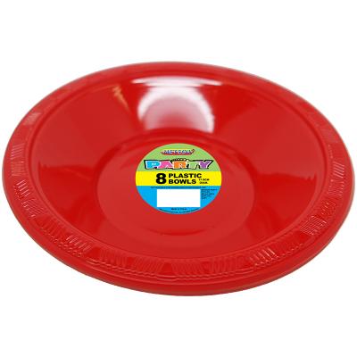 Plastic Bowls 18cm Red 8PK
