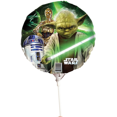 Star Wars Foil Balloon On Stick Yoda
