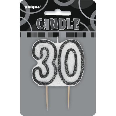 Glitz Birthday Black Numeral Candle 30th