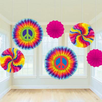 Feeling Groovy Paper Fan Decorations 6PK