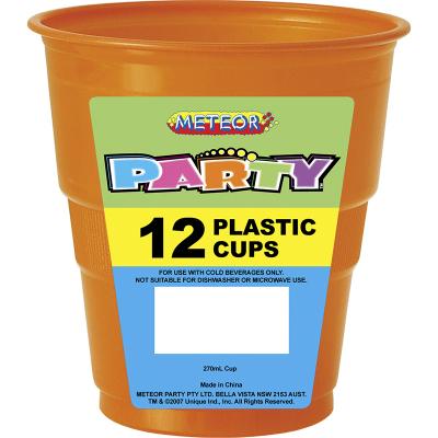 Plastic Cups 270ml Orange 12PK