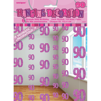 Glitz Birthday Pink Hanging Swirl Decoration 90th 6PK
