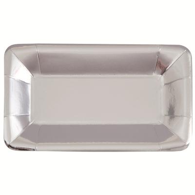 Metallic Silver Foil 23cm X 13cm Paper Plates 8PK