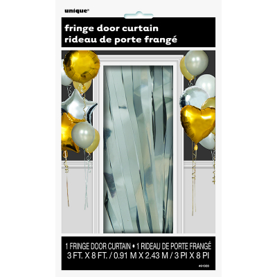 Fringe Door Curtain Metallic Silver