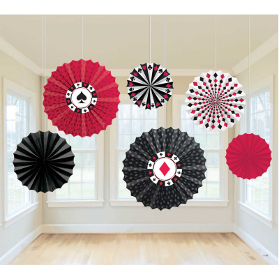 Casino Place Your Bets Paper Fan Hanging Decorations 6PK