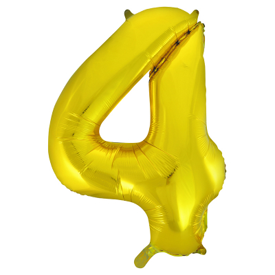 86cm 34 Inch Gaint Number Foil Balloon Gold 4 Inflated with Helium