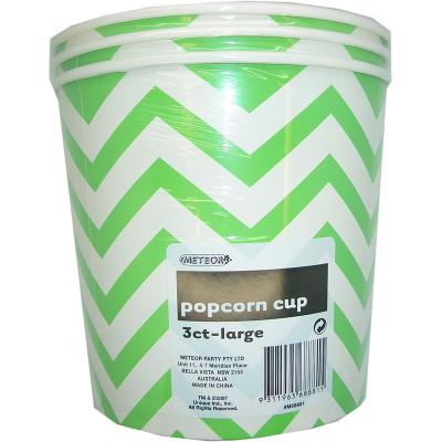 Chevron Popcorn Cups Large Green 3PK
