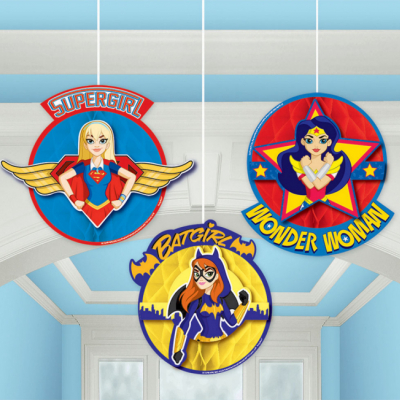 DC Superhero Girls Honeycomb Decorations 3PK