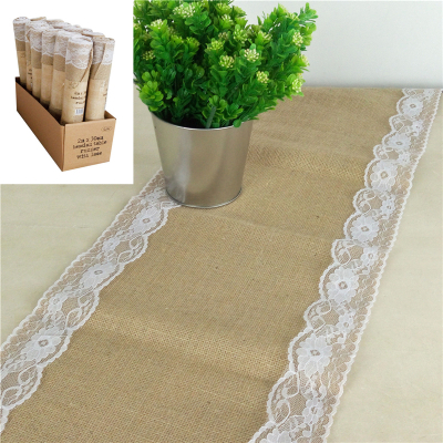 Hessian Table Runner With Lace 30cm X 2M