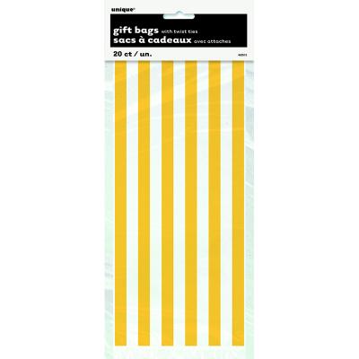 Stripes Yellow Cello Bags 20PK
