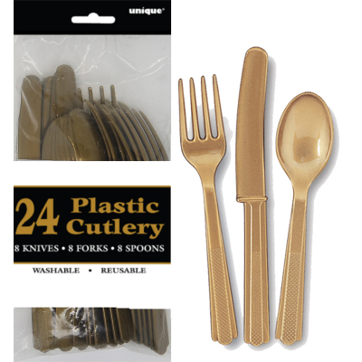 Cutlery Gold Inc Fork Spoon Knife 24PK