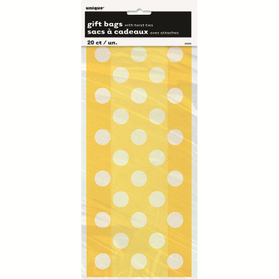 Polka Dots Cello Bags Sunflower Yellow 20PK