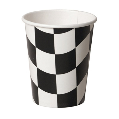 Black & White Checkered Cups 8PK