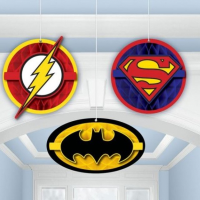 Justice League Honeycomb Decoration 3PK