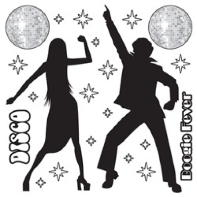 Disco Silhouettes Wall Decorations Insta-Theme Props 22PK