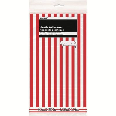 Stripes Red Plastic Tablecover