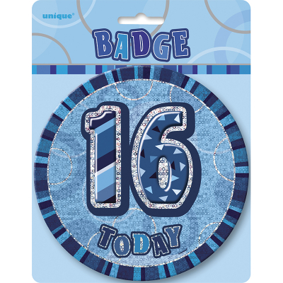 Glitz Birthday Blue Badge 16th