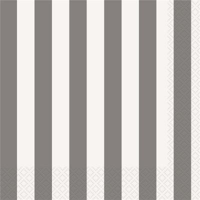 Stripes Silver Beverage Napkins 16PK