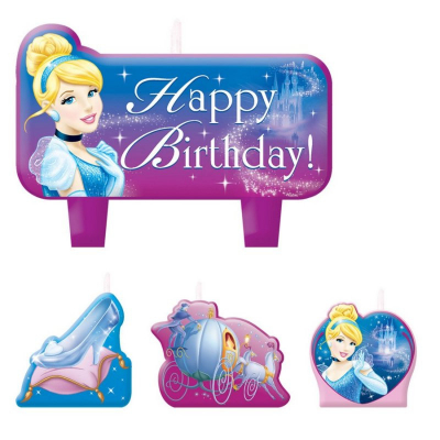 Cinderella Birthday Candle Set 4PK