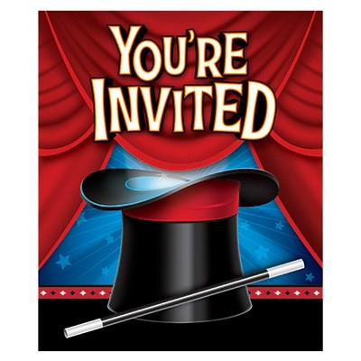 Magic Party Invitations You're Invited & Envelopes 8PK