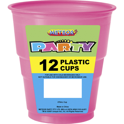 Plastic Cups 270ml Hot Pink 12PK