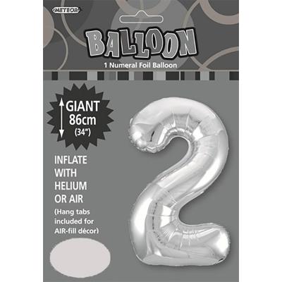 86cm 34 Inch Gaint Numeral Foil Balloon Silver 2