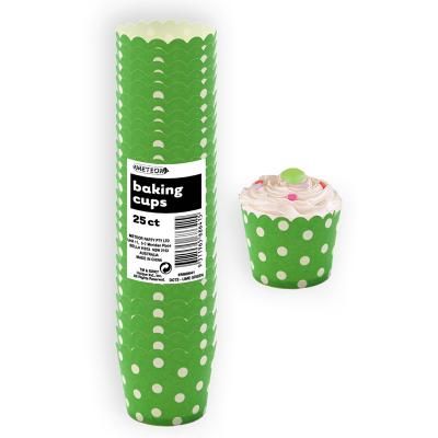 Polka Dots Baking Cups Lime Green 25PK