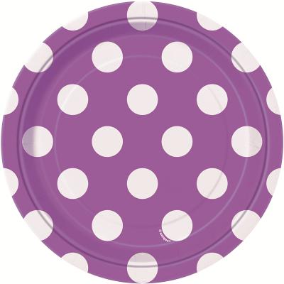 Polka Dots 17cm Plates Pretty Purple 8PK