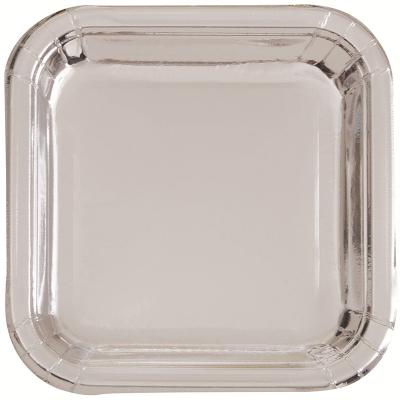 Metallic Silver Foil 23cm Paper Square Plates 8PK