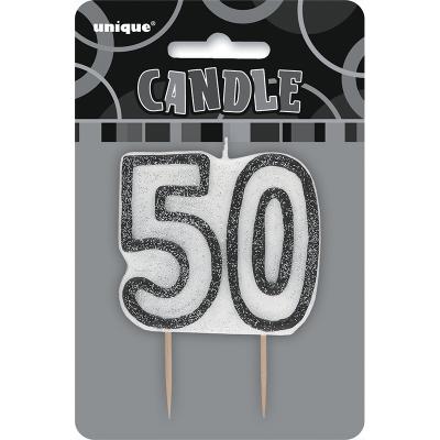 Glitz Birthday Black Numeral Candle 50th