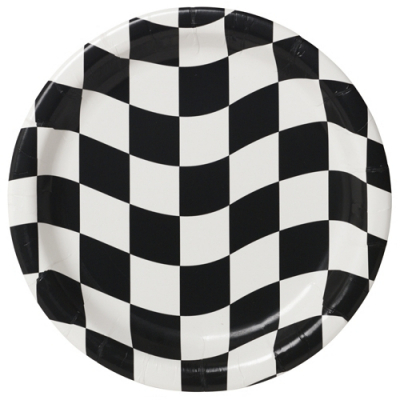 Black & White Checkered Dinner Plates 8PK
