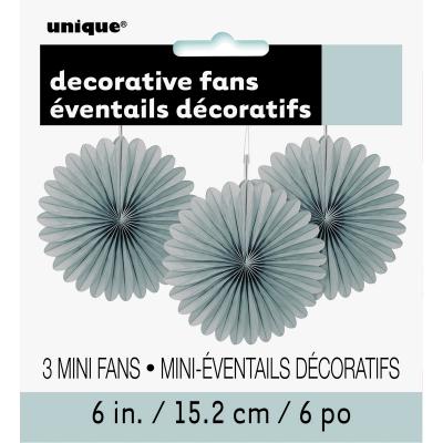 Hanging Decorative Fan 15cm Silver 3PK