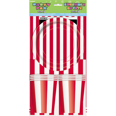 Stripes Red Party Pack 25PK