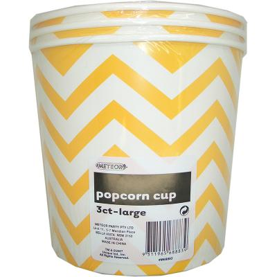 Chevron Popcorn Cup Large Yellow 3PK