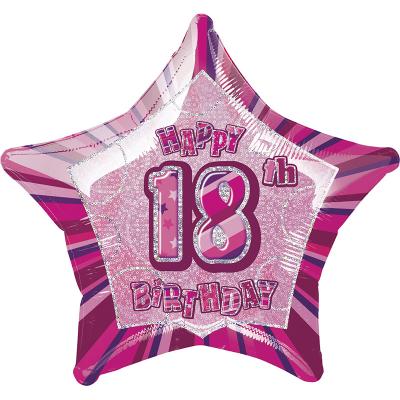 Glitz Birthday Pink Star Foil Balloon 18th
